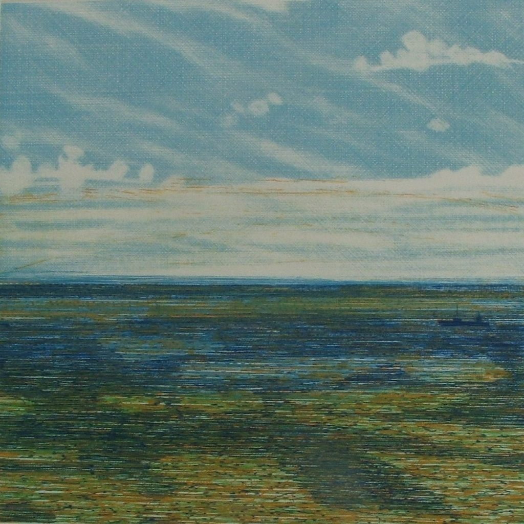 The Irish Sea, Blue 2008 Etching on Hannemulhe 350g, 30 x 30 cm (Photo: Niall Naessens)