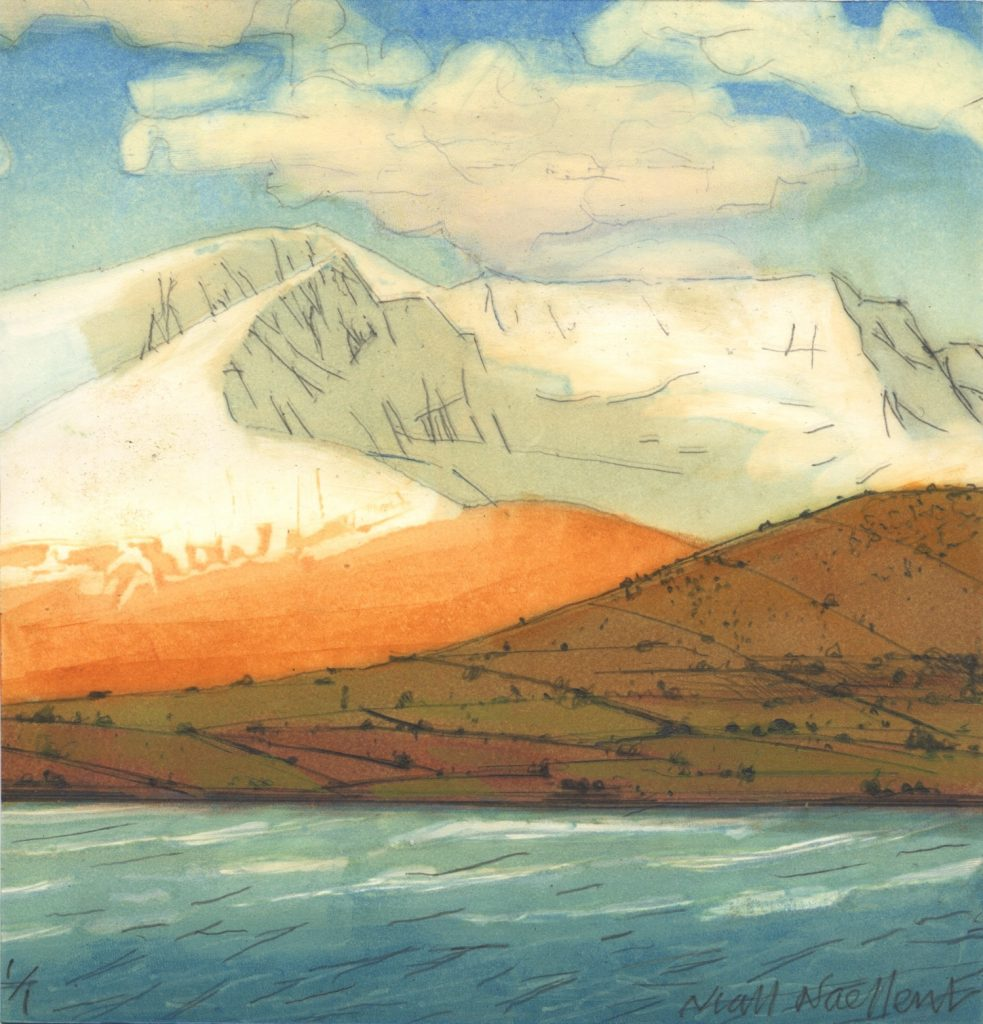 Mount Brandon in Snow, 2010 monoprint On Zerkall 350g 20 x 20 cm