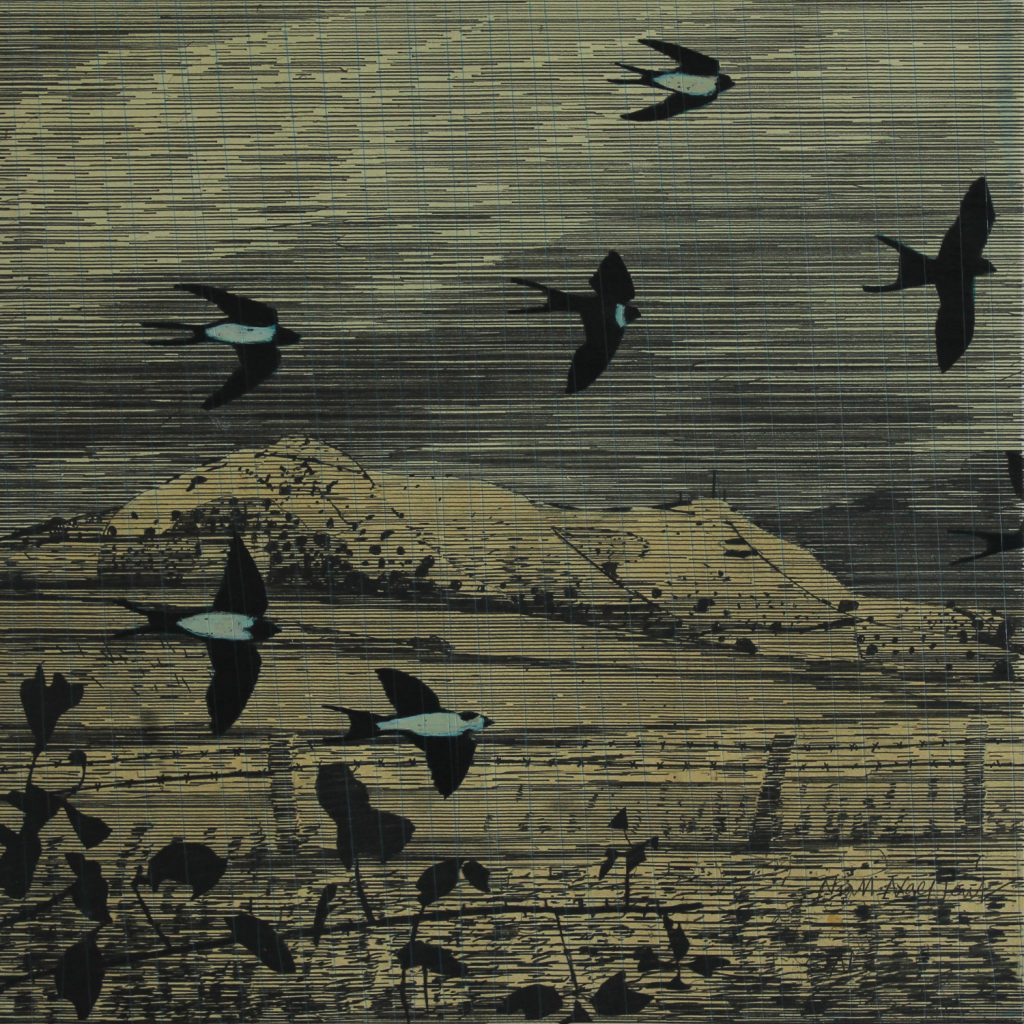 Swallows. Drawing-Monoprint.50x50cm © Niall Naessens © Niall Naessens
