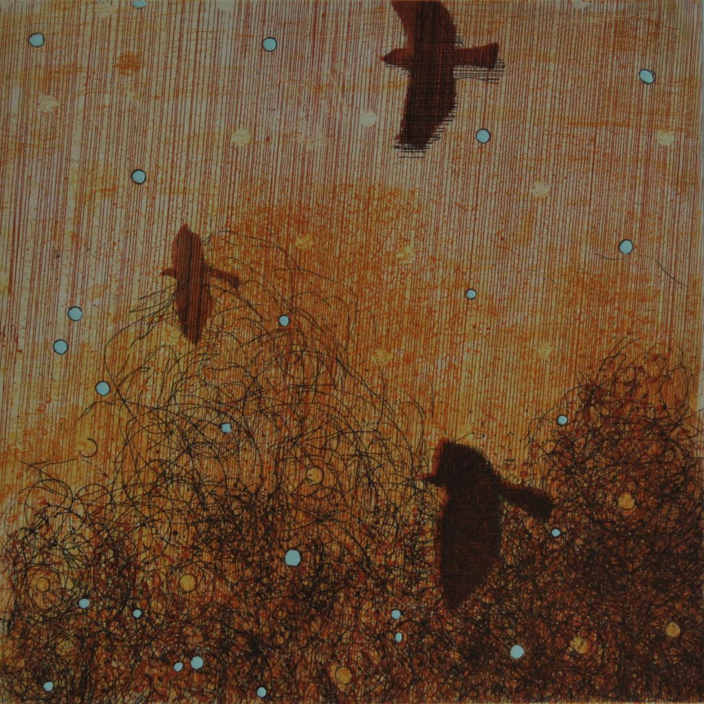 Three Crows Etching on Zerkall 350g 33x33cm © Niall Naessens