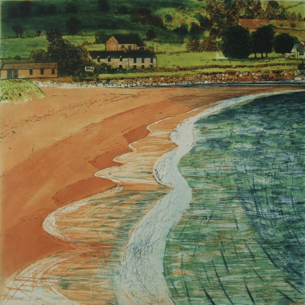 Ballyguin Beach and Houses 2006 Etching on Zerkall 350g 30x30cm